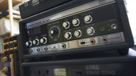 A Roland Space Echo and Korg StageEcho