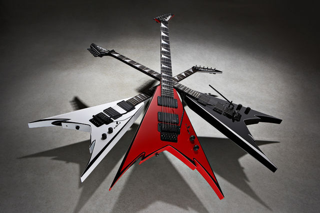 Jackson's new Demmelition King V models. Rawk!