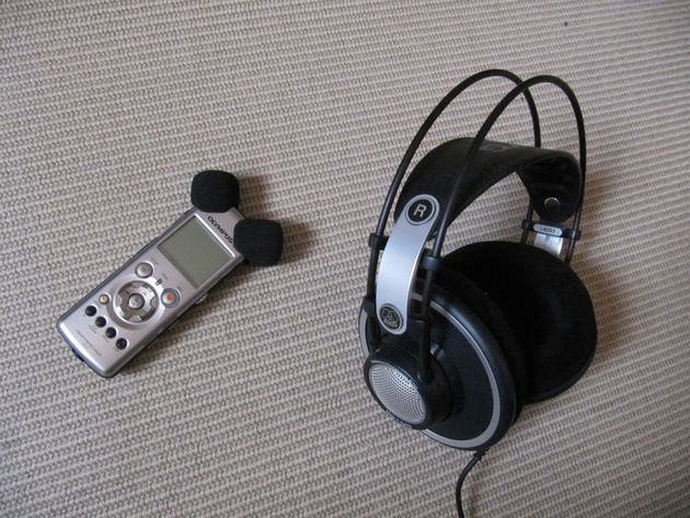 Headphones and recorder