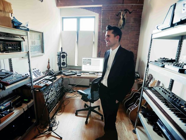 Matthew Dear and his New York studio