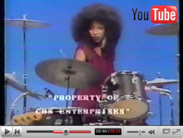 Chaka Khan plays the drums