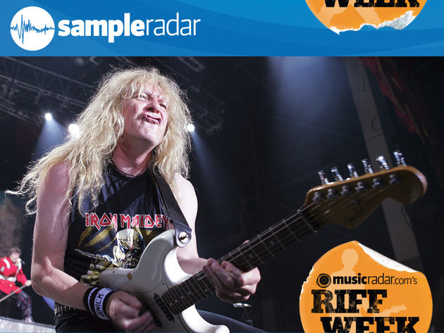 Iron Maiden's Janick Gers strikes a quintessential metal pose.