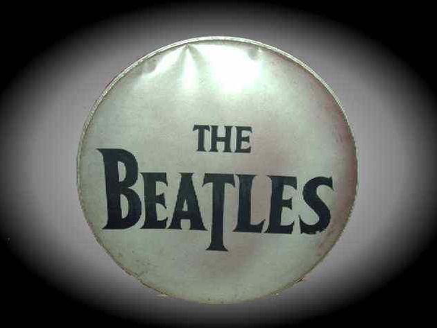 The Beatles bass drum skin: features the iconic drop T logo
