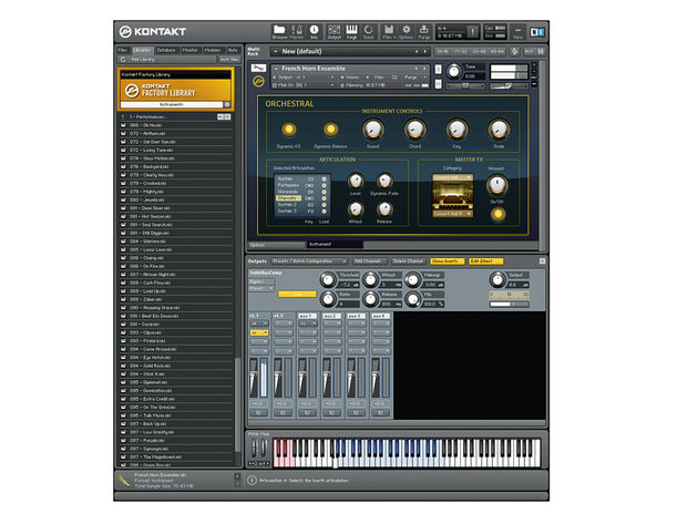 Kontakt allows custom interfaces for its instruments, as found on all library content.