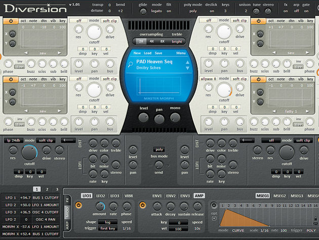 Diversion's four oscillators offer a sonic feast for the synth geek.