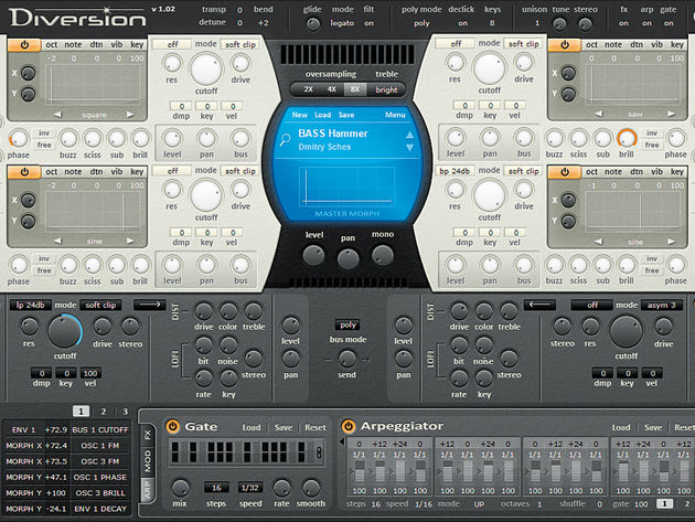 Diversion's Oscillator Effects section enables you to tweak a waveform's shape and hone its sound.