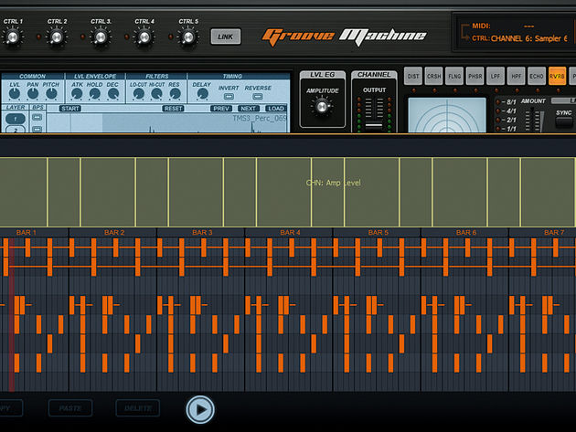 Right-clicking a step opens up Groove Machine's piano roll editor for notes and automation editing.