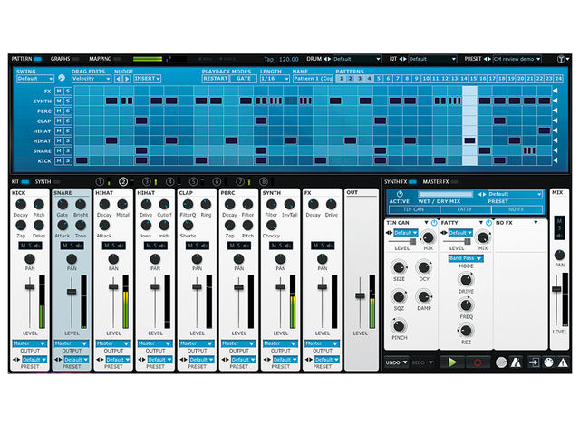 The Kit view gives you a mixer-style overview.