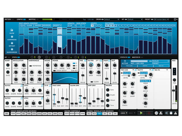 The TransMod system puts a world of custom modulation at your fingertips, with sources including four graphs per pattern, complete with Slew control.