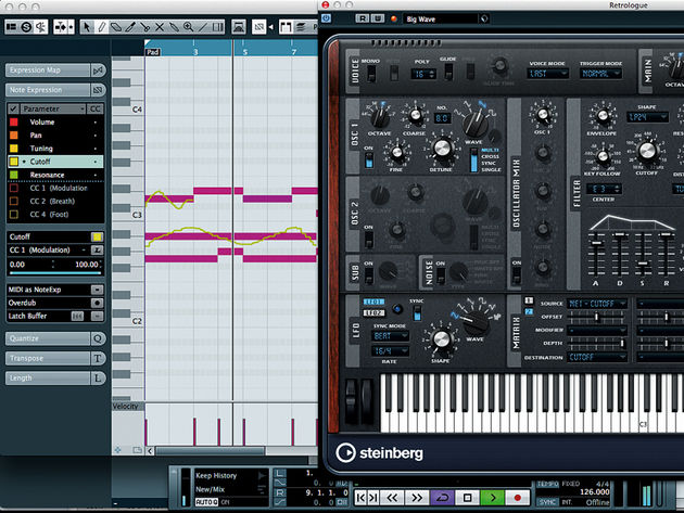 Being VST3.5 instruments, Retrologue and Padshop can exploit Cubase's Note Expression to the fullest.