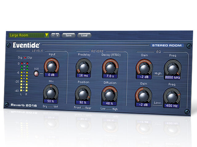 The 2016 Stereo Room's interface mirrors that of Eventide's Reverb 2016 hardware unit - itself a rerub of the rather less user-friendly '80s SP2016 effects box.