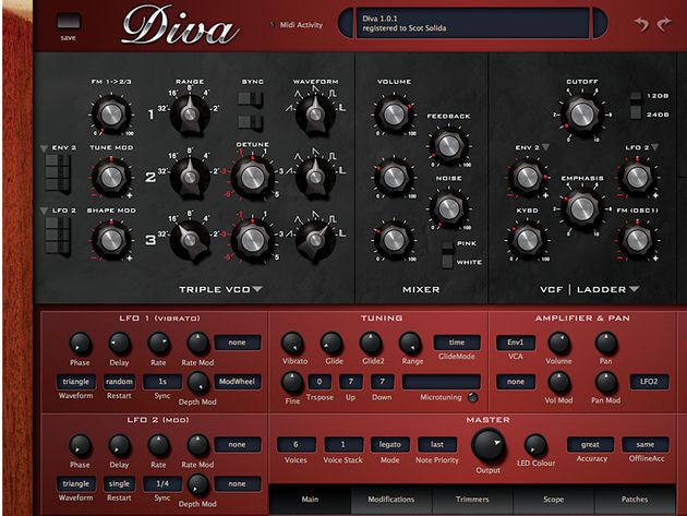 The tabs at the bottom of Diva's interface access the patch browser, built-in 'scope, modulation and more.