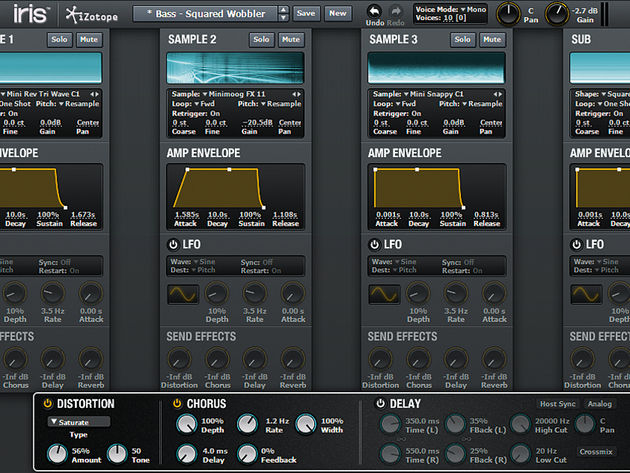 Iris enables you to layer up to four sounds per patch, with one focused on providing sub frequencies.