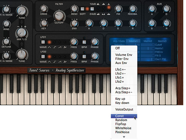 Brain the size of a walnut? Not this super-synth! Saurus provides a vast selection of modulation sources.