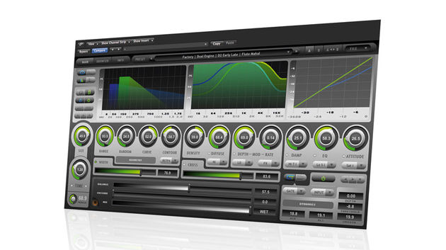 The three main graphical displays show reverb time, the effects of the damping and EQ controls