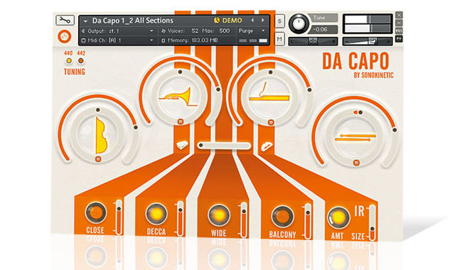 The Da Capo soundbank is divided up into Strings, Brass, Woodwind and Percussion sections