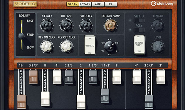 Model C can be used to call up a swell of sampled tonewheel goodness. Organ grinders rejoice!