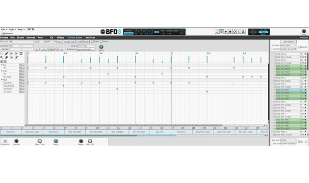 BFD3's Groove Editor gives you expansive access to a range of hits, articulations, rudiments and timing tricks