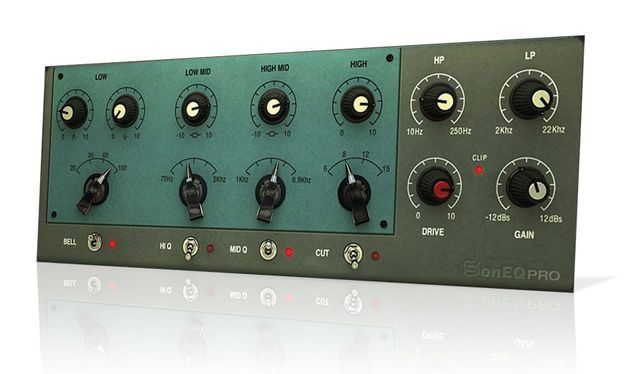 SonEQ combines emulations of the Pultec EQP-1A, Manley Massive Passive, API 550B and Neve 1073 in one interface