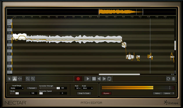 The Pitch Editor, available only with the Production Suite edition, offers manual editing of vocal pitch
