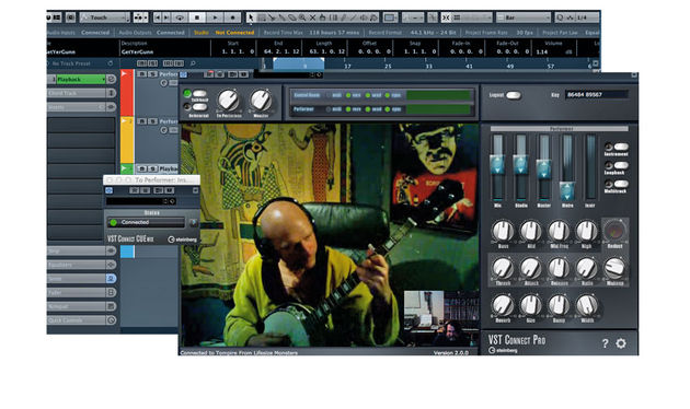 The performer window contains basic mix, compression, reverb and EQ controls