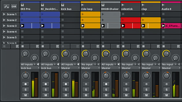 The clip-focused Mix window is one of Bitwig's most Live-like interface elements.