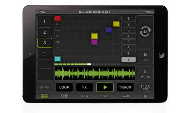 "GrooveMaker 2 works with its own ""song"" format, comprising eight tracks with nine preloaded loop slots each"