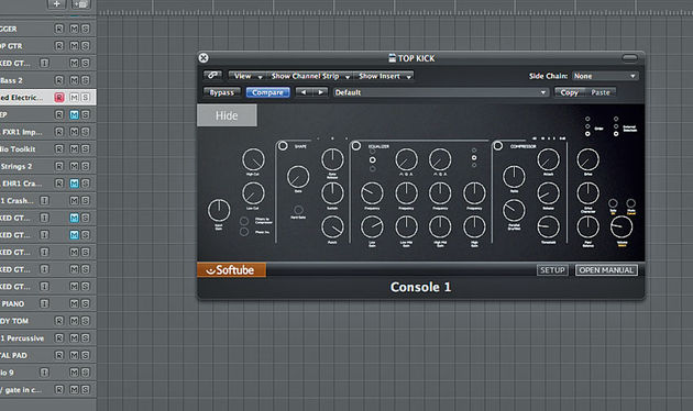 Console 1 has two view modes: one with (non-interactive) frequency graphs, etc, and one with good-old knobs