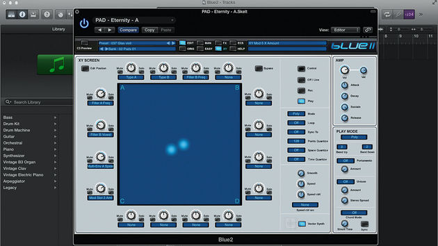 Take control of the horizontal and the vertical with Blue II's outstanding X/Y controller