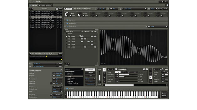 A multisampled instrument, rendered from a plugin instrument, assigned to multiple Modulation Sets