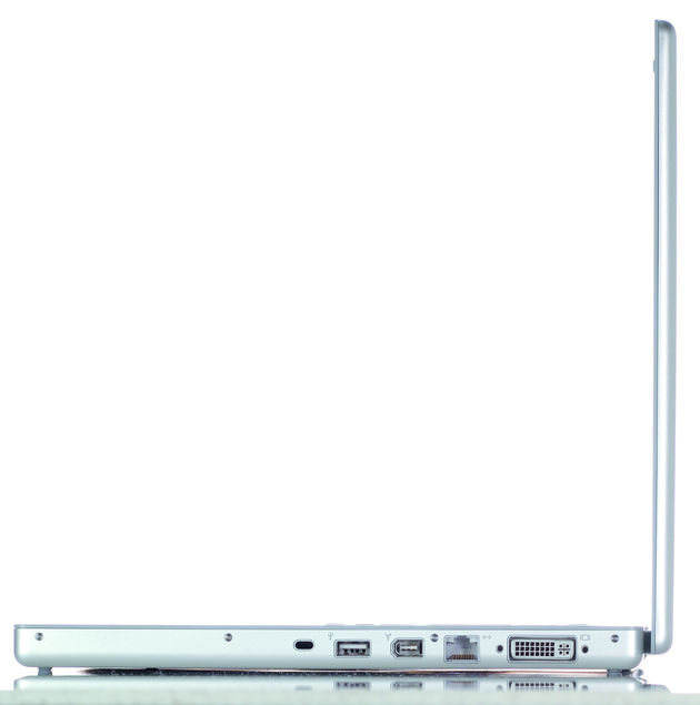 The MacBook Pro has USB, Firewire, infra-red and DVI outputs