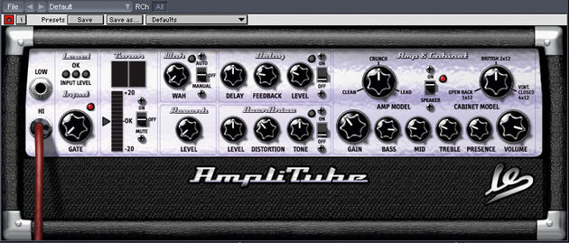 The AmpliTube Live virtual amp features a wealth of effects.
