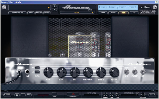 The amp controls are similar to those on the original hardware.