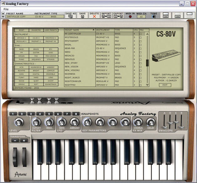 The CS-80V is one of six synth engines available.