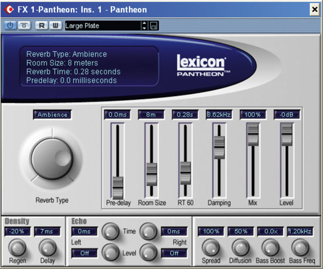 Pantheon is Lexicon's only reverb plug-in.