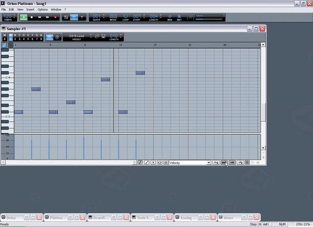 Orion's pattern-based sequencer is very simple.