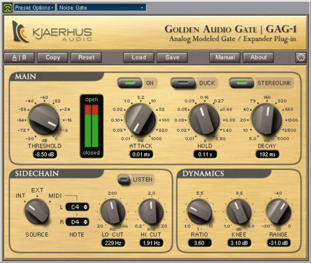 The sidechain input of a gate can be used to create rhythmic effects.