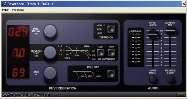 Vintage digital reverbs are the inspiration for the interface.