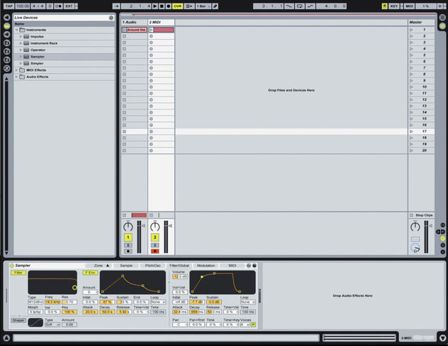 Sampler uses Live's browser to access samples and patches