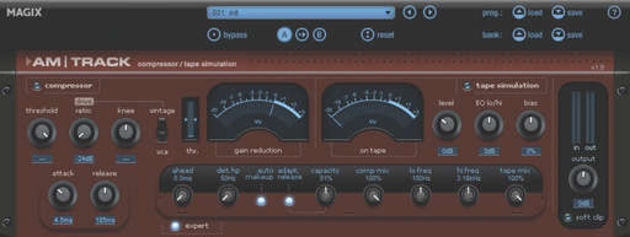 The am-track compressor/tape saturation plug-in with 'exposed' expert settings.