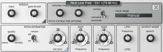 The pitch extractor module's advanced options.