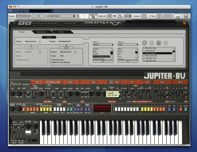 The JP-8V allows for splits and layers.