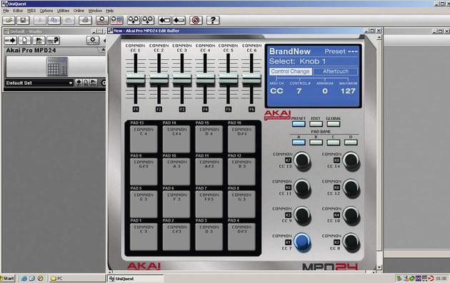 The UniQiuest editor makes patch editing much easier than it is via the MPD24's front panel.