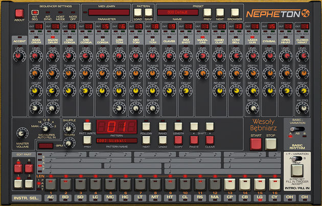 Nepheton's interface is clearly inspired by that of the Roland TR-808.