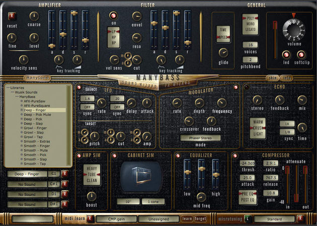 Your bass tone can be sculpted using familiar synth-style controls.