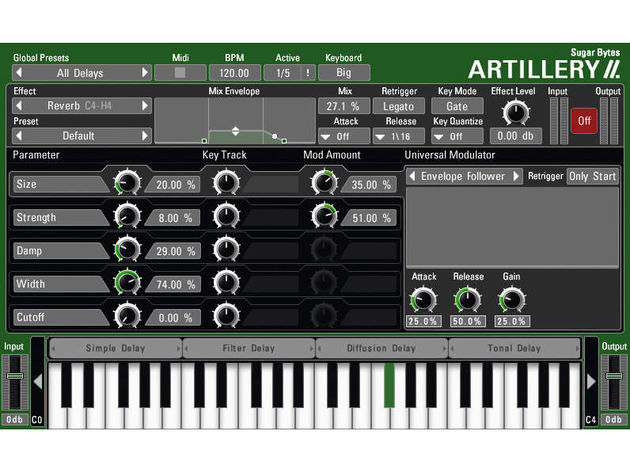 The effects can be assigned to zones on your MIDI keyboard.