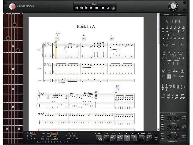 You can enter your music as notation or tab.