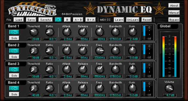 You can target problem frequencies with the Dynamic EQ.