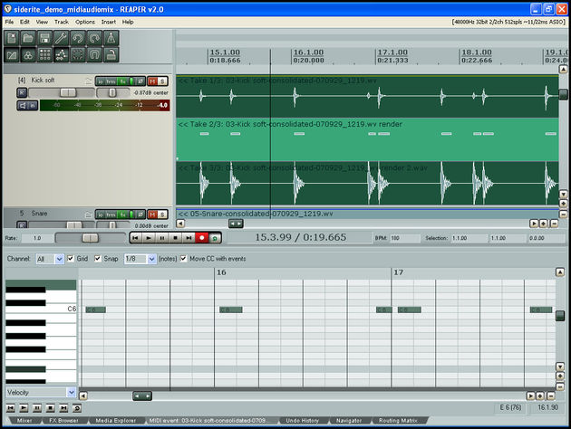 Audio and MIDI tracks are treated in exactly the same fashion.