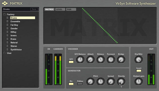 The Matrix GUI is more sparsely populated than the interfaces of some vocoders.